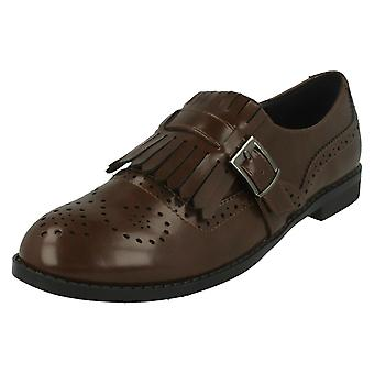 Ladies Spot On Brogue Style Slip On Shoes F80108