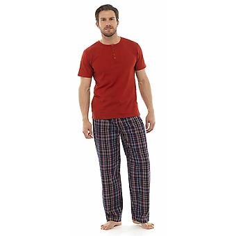 Mens Tom Franks Jersey Cotton Check Long Bottoms Short Sleeve Lounge Wear