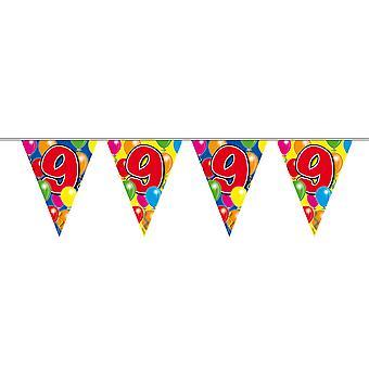 Wimpelkette 10m Zahl 9 Jahre Geburtstag Deko Party Girlande