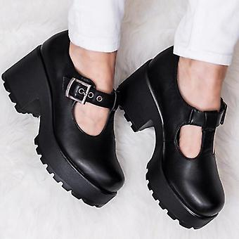 Spylovebuy CATTIE Heeled Cleated Sole Platform Shoes - Black Leather Style