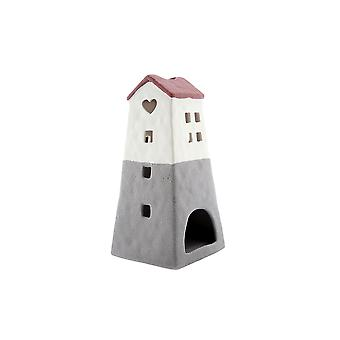 Light-Glow Lighthouse Candle Holder, Red and Grey