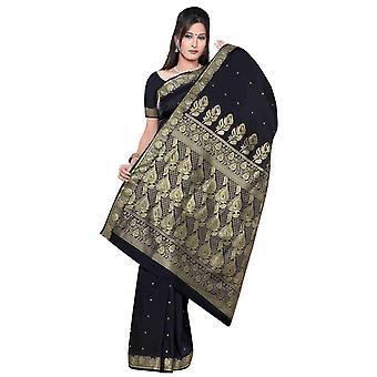 Schwarz - Benares Kunstseide Sari / Saree/Bauchtanz Stoff (Indien)