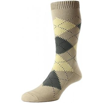 Pantherella Turnmill Argyle Egyptian Cotton Socks - Light Khaki