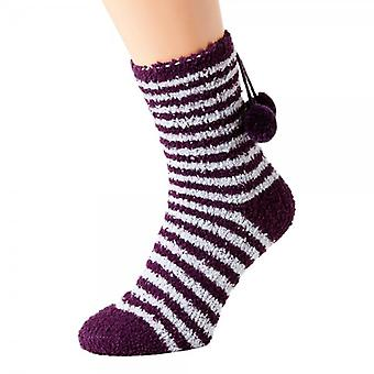 Camille Womens Ladies Luxury SuperSoft Two Pack Purple Striped Bed Socks One Size