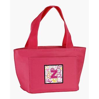 Letter Z Flowers and Butterflies Pink Lunch Bag