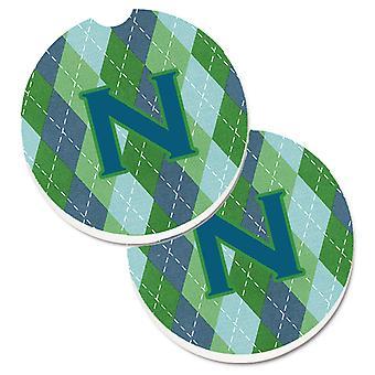 Początkowe N Monogram - niebieski Argoyle zestaw 2 szklanki posiadacz samochodu podstawki