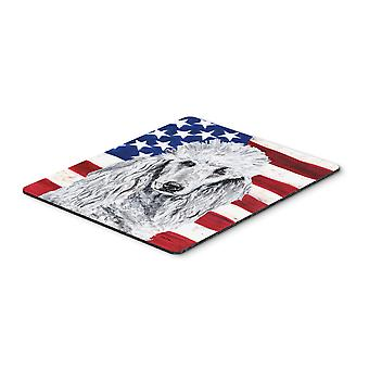 White Standard Poodle with American Flag USA Mouse Pad, Hot Pad or Trivet