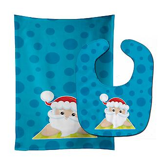 Carolines Treasures  BB9075STBU Beach Santa Claus #8 Baby Bib & Burp Cloth