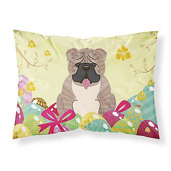 Easter Eggs English Bulldog Grey Brindle  Fabric Standard Pillowcase
