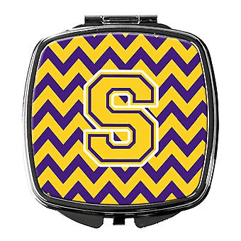 Carolines Treasures  CJ1041-SSCM Letter S Chevron Purple and Gold Compact Mirror