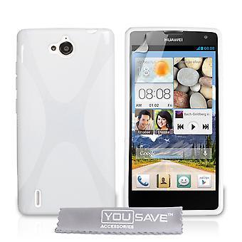 Huawei Ascend G740 X-Line Gel caso - bianco
