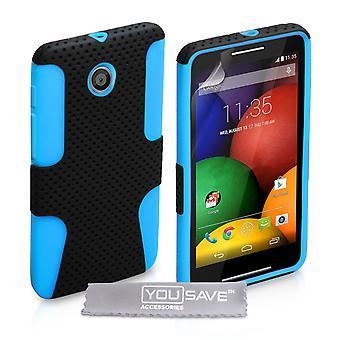 Motorola Moto E жесткая сетка со списком силиконовый чехол - сине