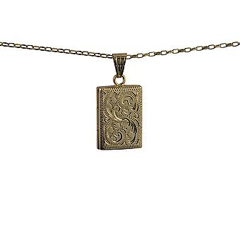 9ct Złota 22x15mm ręcznie grawerowane płaski prostokątny medalion z belcher łańcucha 16 cali nadaje się tylko dla dzieci