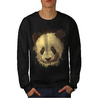 Panda Bear Cute Animal Men BlackSweatshirt | Wellcoda
