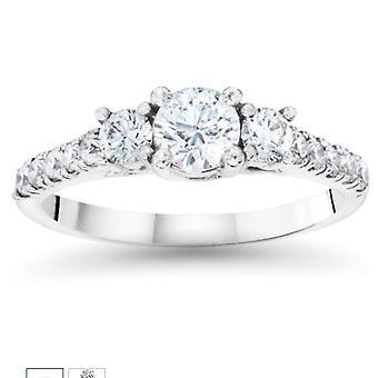 3/4ct Three Stone Diamond Ring 14K White Gold