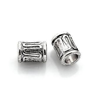 Packet 30 x Antique Silver Tibetan 6 x 8mm Tube Spacer Beads HA17210