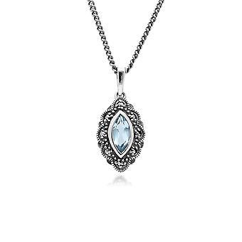 Gemondo Sterling Silver Blue Topaz & Marcasite Art Nouveau 45cm Necklace