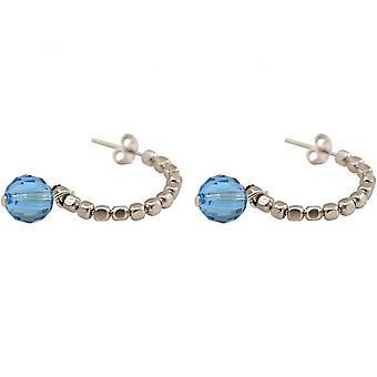 Ladies - earrings - 925 - loop - blue - 3 cm