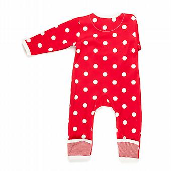 Spotty red baby grow