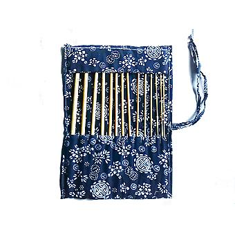 14 Pcs of Bamboo Afghan 34cm/14 Crochet Hooks with Case - Wood Craft Set