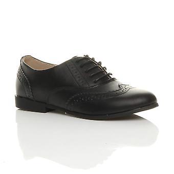 Ajvani kvinners flatt lav hæl snøre smart vintage oxford sko brogues