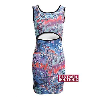 New Ladies Sleeveless Graffiti Print Mid Cut Out Women's Bodycon Dress