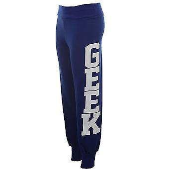 Ladies Geek Print Trousers Tracksuit Bottoms Jogging Pants Women's Joggers