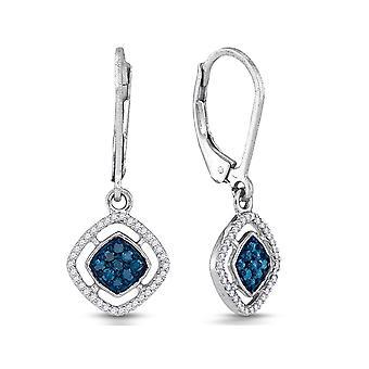 1/3 Carat (ctw) Enhanced Blue and White Diamond Dangle Earrings in 10K White Gold