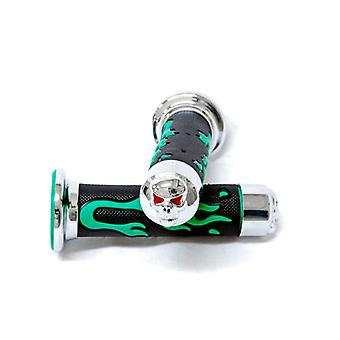 Green Skull Motorcycle Rubber Hand Grips 7/8
