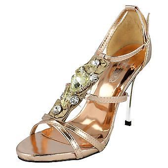 Ladies Spot On Classy Heels F1768 UK 6 (PINK&GOLD)