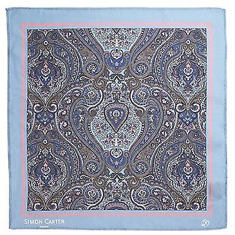 Simon Carter innrammet Paisely silke Pocket Square - blek blå/rosa