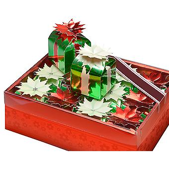 SALE - 12 Small Square Christmas Gift Boxes with Poinsettia Flowers