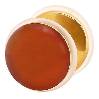 Tramposo falso oído Tapón dorado, pendiente, joyería del cuerpo, línea roja piedra de ágata