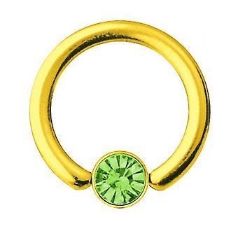 Smiley Piercing BCR oro plateado titanio 1,2 mm, elementos de SWAROVSKI verde | 6-10 mm