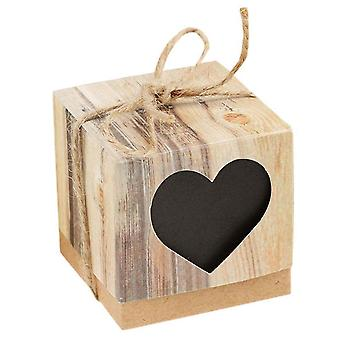 TRIXES; Pack of 25 Black Heart Party Favour Boxes - Wood Rustic Effect Brown with Twine Ribbon for Wedding Decoration