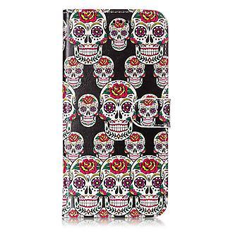 Samsung Galaxy S9 Plus Portemonnaie Tasche-Flower Skull