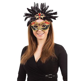 Karneval. Rot/Schwarz/Gold + Federn auf Brillengestell