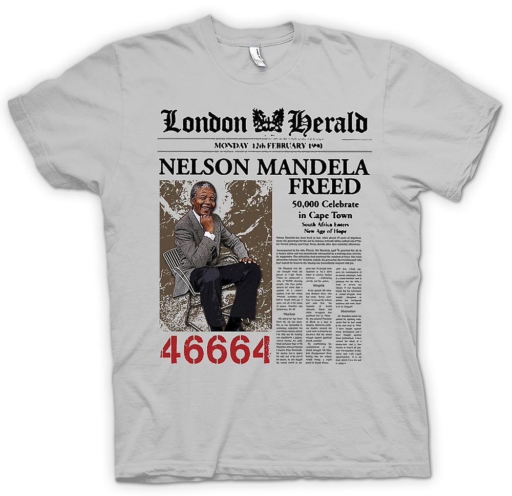 Heren T-shirt - Nelson Mandela Freed 46664 - ANC - Vrijheid