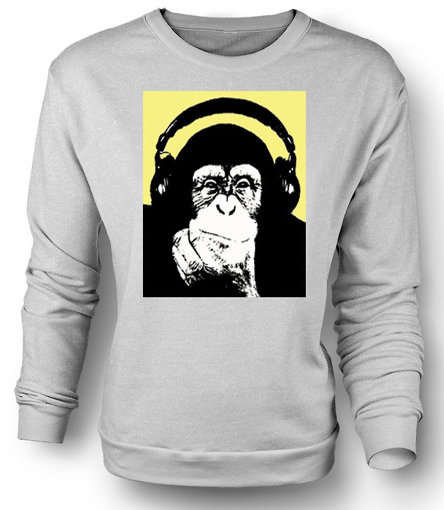 Mens Sweatshirt Chimpanzee Ape DJ With Headset