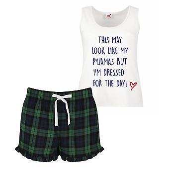 هذه قد تبدو لي البيجامة ولكن أنا يرتدون ملابس فعلا الترتان السيدات القمصان اليوم فريل قصيرة