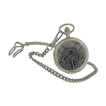 Boxx Gents Thistle & Cross Design Cover Pocket Watch 14 Inch Chain BOXX396