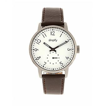 Simplify The 3400 Leather-Band Watch - Silver/Dark Brown