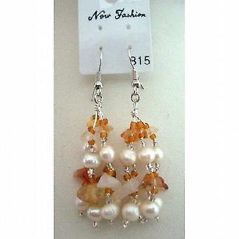 Carnelian kamień koraliki Pearl słodkowodne / szklane koraliki kolczyki