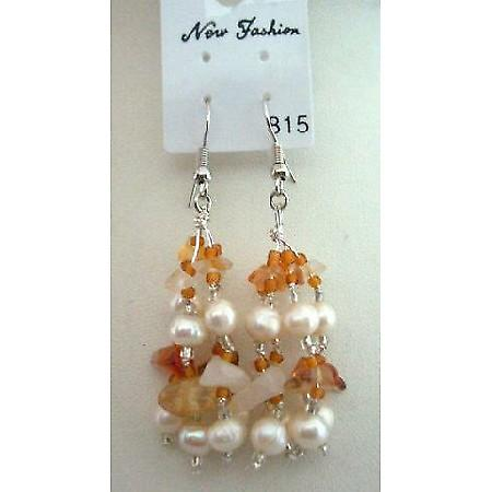 Carnelian Stone Chip Beads Freshwater Pearl w/ Glass Beads Earrings
