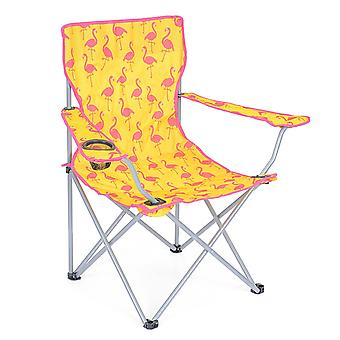 Folding Camping Chair Lightweight Beach Festival Outdoor Travel Seat Flamingo
