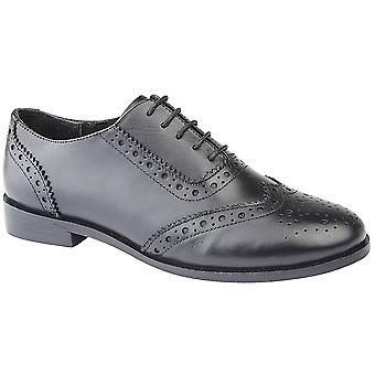 Ladies Womens Leather Brogues Oxford Lace Up Smart School Office Formal Shoes