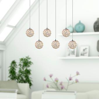 Moderne LED plafond licht helderglazen eetkamer 6 Pendant Lamp rechthoekige luifel