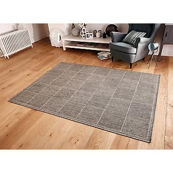 Checked Flatweave Grey  Rectangle Rugs Plain/Nearly Plain Rugs