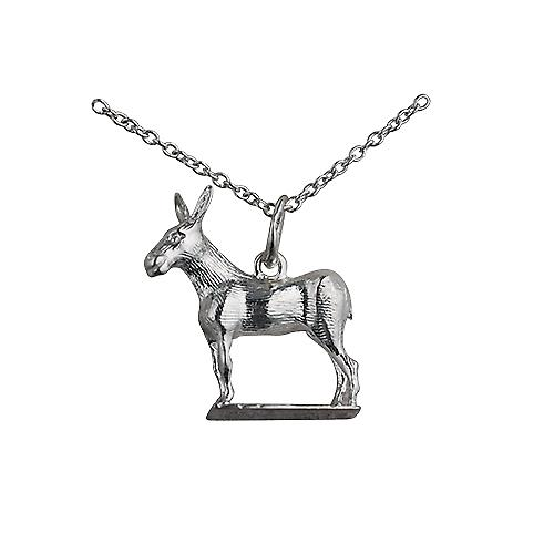 Silver 19x18mm Donkey Pendant with a rolo Chain 16 inches Only Suitable for Children