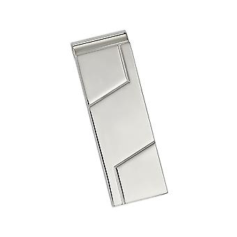 Mens Money Clip in Polished and Grooved Stainless Steel